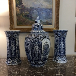Set of Three Delft Vases