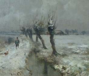 Snowy Landscape - Antique Oil Painting