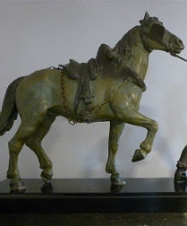Spelter Statue of a Man leading a Carthorse