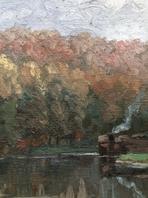 Steamboat on a River - Antique Oil Painting