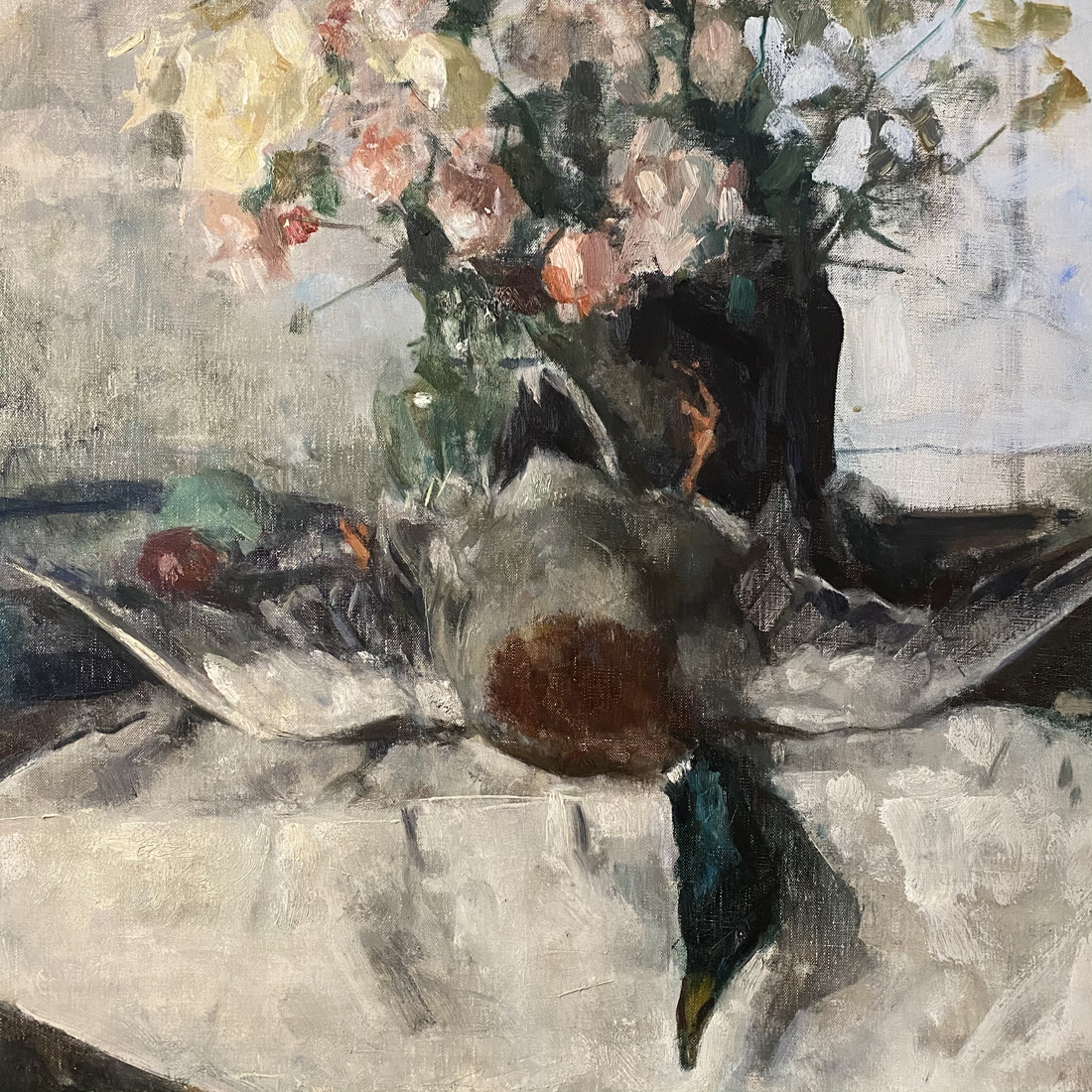 Still Life with Mallard and Flowers - Antique Oil Painting
