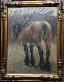 Study of a working Horse - Antique Oil Painting