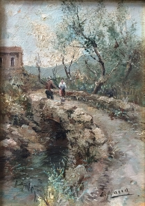 The Bridge - Antique Oil Painting