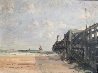 The Pier - Antique Oil Painting