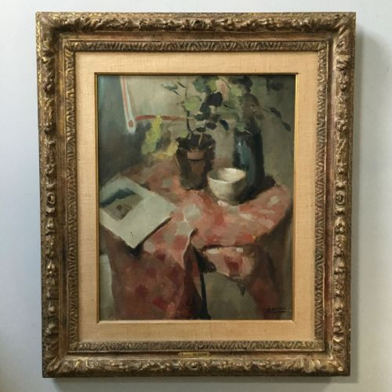 The Poets Table - Antique Oil Painting