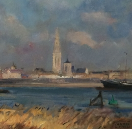 The Port of Antwerp - Antique Oil Painting