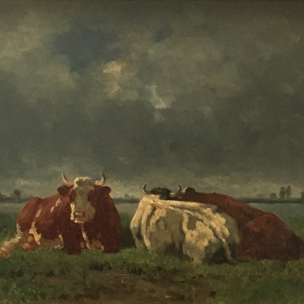 Three Cows - Antique Oil Painting
