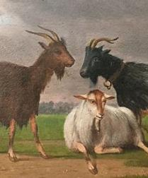 Three Goats - Antique Oil Painting