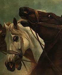 Three Horses - Antique Oil Painting