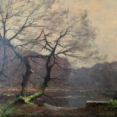 Trees by a Lake - Antique Oil Painting