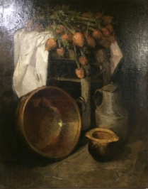 Turnips on a Stool - 19th Century  Oil Painting