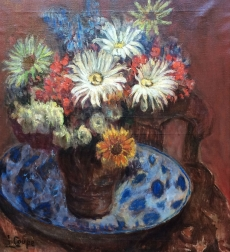Vase of  Flowers - Antique Oil Painting