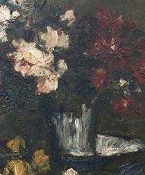 Vase of Roses - Antique Oil Painting