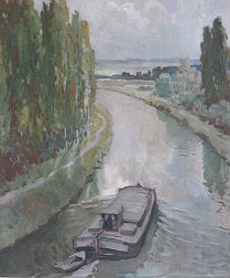 View of a Canal and Barge