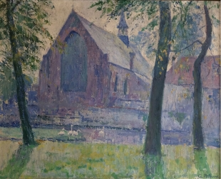 View of a Church - Antique Oil Painting