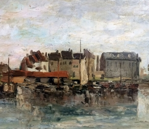 View of a Fishing Port - Antique Oil Painting