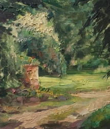 View of a Garden - Oil Painting
