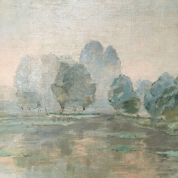 View of a Lake - Antique Oil Painting