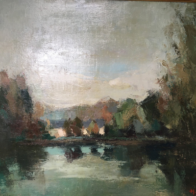 View of a Lake II - Antique Oil Painting
