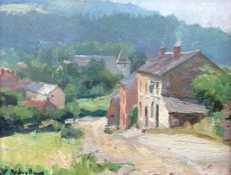 View of a Village - Antique Oil Painting