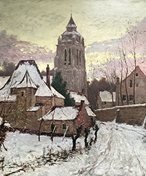 View of a Village in Winter - Antique Oil Painting