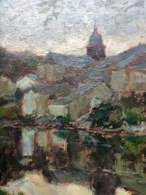 View of Chassepierre - Antique Oil Painting