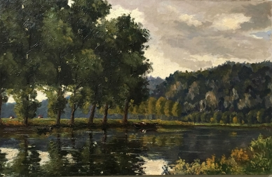 View of the River Meuse - Antique Oil Painting