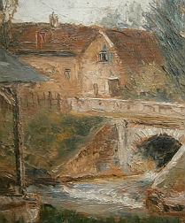 Village and its Bridge - Signed Oil on Wooden Panel