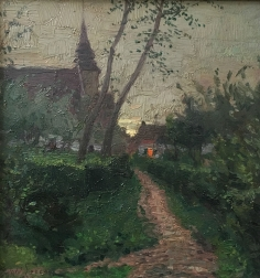 Village in Evening Light - Antique Oil Painting