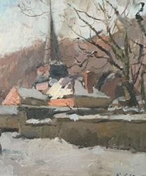 Village in the Snow - Antique Oil Painting