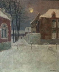 Village in the Snow -  Oil Painting