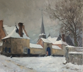 Village in Winter - Antique Oil Painting