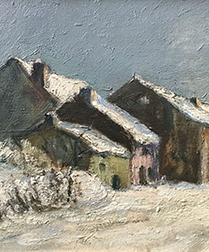 Village in Winter - Oil Painting