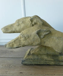 Vintage Alabaster Greyhound Heads