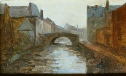 Viw of a Bridge - French Oil Painting
