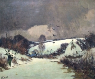 Winter Landscape - Antique Oil Painting
