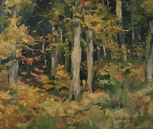 Woodland in Autumn - Antique Oil Painting