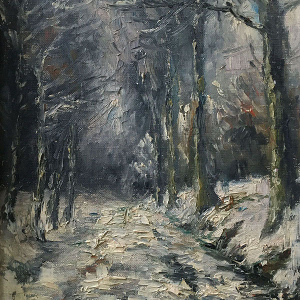 Woodland in Winter - Antique Oil Painting