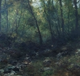 Woodland Stream - Antique Oil Painting
