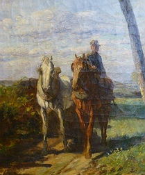 Working Horses - 19th Century Oil Painting