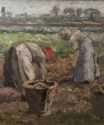 Working in the Fields - Antique Oil Painting